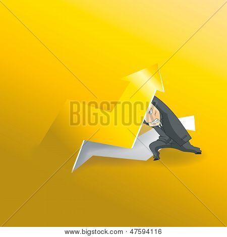 Businessman Lifting Up Gold Arrow