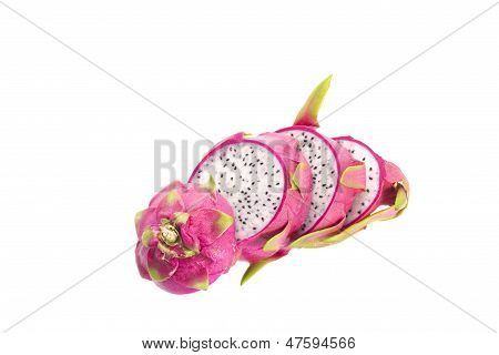 Close-up of sliced dragon fruit isolated on white