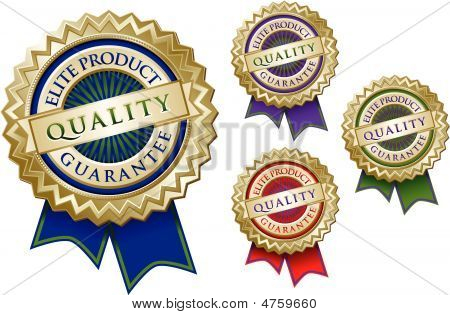 Set Of Four Quality Elite Product Guarantee Emblem Seals
