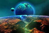 image of science fiction  - Mountainous landscape on another world with a view of a nearby planet and its moon - JPG