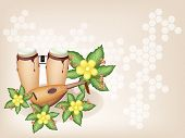 stock photo of congas  - An Illustration of A Retro Style Classical Conga Drums and Lute or Oud with Fresh Simpor Flowers or Dillenia Flowers on Vintage Brown Stage Background with Copy Space for Text Decorated  - JPG