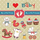 foto of carriage horse  - Collection of vintage retro baby label and icon elements - JPG