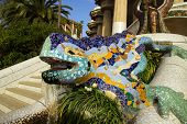 stock photo of gaudi barcelona  - Lizard in Park Guell in Barcelona Spain - JPG
