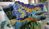 Mosaic Salamander. Barcelona Landmark, Spain. poster