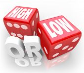 image of guess  - The words High or Low on two red dice to illustrate a guessing game or gambling to wager on minimum or maximum - JPG