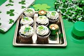 stock photo of st patty  - Cupcakes with ST Patty - JPG