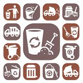 stock photo of waste management  - Color Garbage And Cleaning Icons Set Created For Mobile - JPG