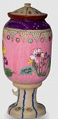 stock photo of olden days  - A beautiful mud pot of olden days painted with hand and decorated in fact a handicraft master piece - JPG
