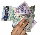 stock photo of dirhams  - Different denomination of UAE money held by a women