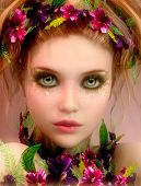 picture of fairyland  - 3d computer graphics of a Girl with colored flowers - JPG