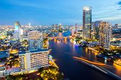 Aerial view of Bangkok Skyline along Chaophraya River sunset twilight