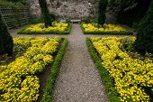 picture of square mile  - Victorian courtyard garden along Royal Mile Edinburgh Scotland with yellow flower beds bench and cross walkway - JPG