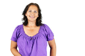image of ordinary woman  - Happy casual caucasian brunette middle age woman isolated - JPG