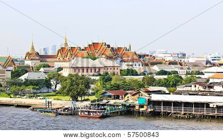 Grand Palace And The City Of Bangkok Along Chao Praya River