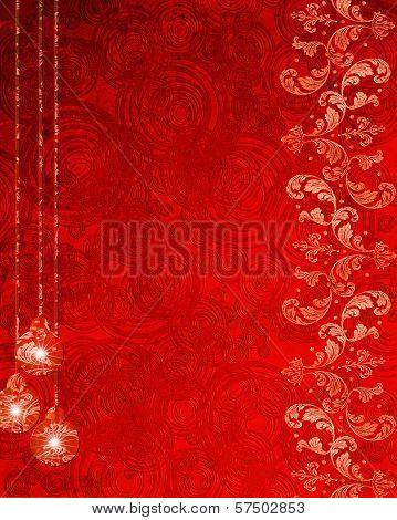 Red Abstract Background With Christmas Decorations