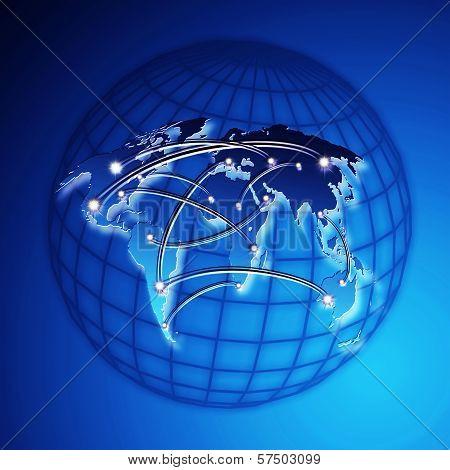 Blue World Map Internet Concept