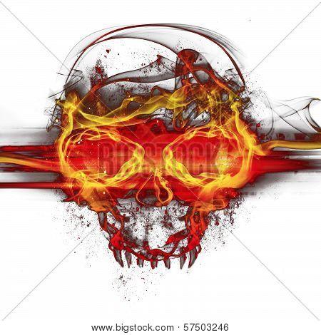 Flames Skull On White Background