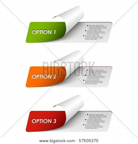Set of colorful sample options stickers