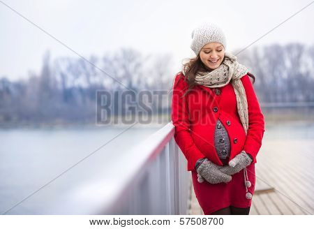 Winter portrait of beautiful pregnant woman