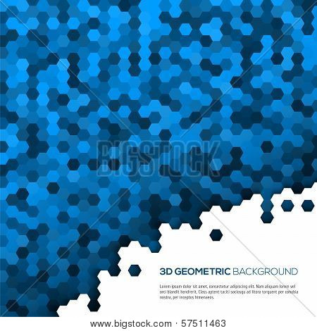 Blue geometric background with polygons