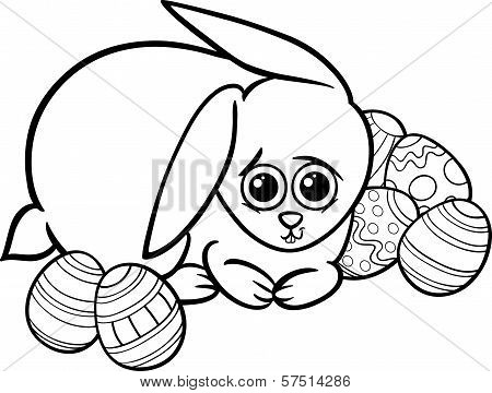 Easter Bunny Cartoon For Coloring Book