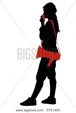Girl with megaphones