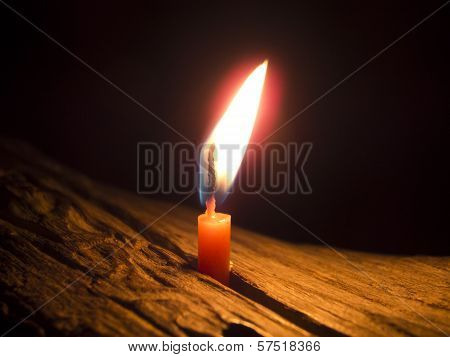 Flame Of Little Candle At Night