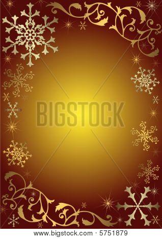 Vintage Christmas Background with golden und silbern Schneeflocken