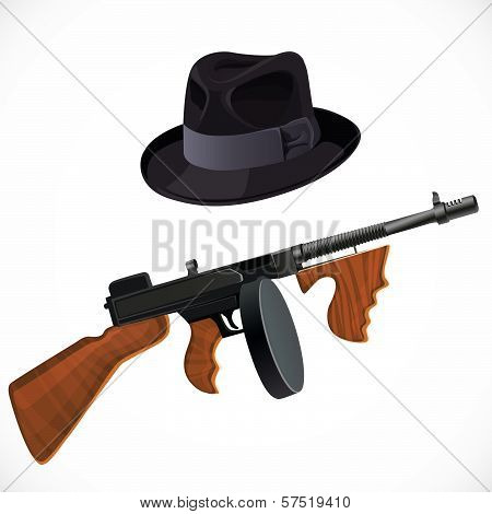 Fedora Hat And A Thompson Gun For A Retro Party Isolated On White Background