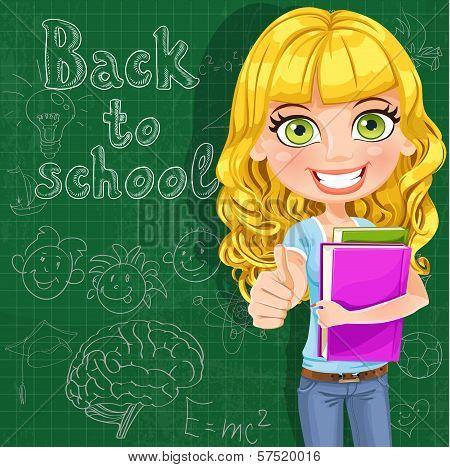 Back To School - Cute Teen Girl Shows Ok At The Blackboard
