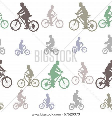 Decorative Seamless Pattern Of Silhouettes Cyclists On Bicycles