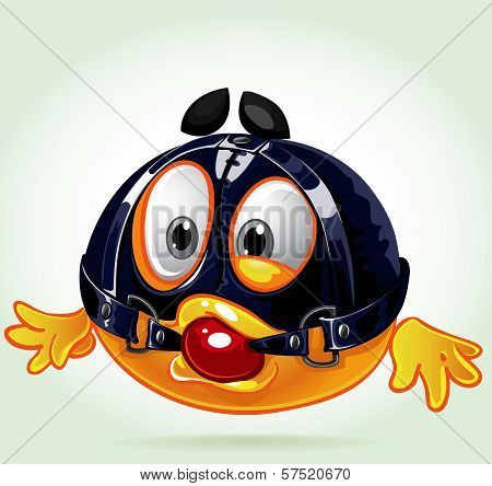 Funny Sadomasochistic Smile With The Ball In His Mouth And Latex Mask. A Series Of Adult Party