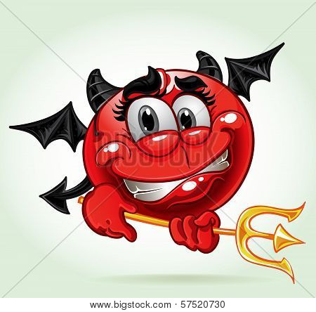 Cheerful Smile In Costume Devil With A Pitchfork. A Series Of Adult Party