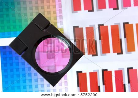 Magnifying Glass On Color Swatches Series - Magenta