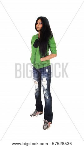 Girl Standing In Jeans.