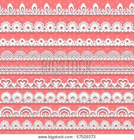 Large Set Of Openwork Lace Borders For Your Design
