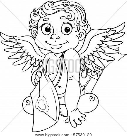 Cupid With Love Letter And Arrows Black Outline For Coloring