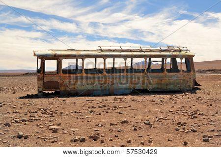 Abandoned Bus In The Desert