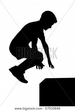 Boy Fitness Exerciser Jumping Silhouette