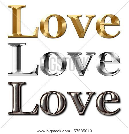 Love Text Metal Effect