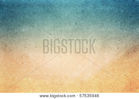 Water Color On Recycle Blue And Yellow Vintage Paper Texture Background. Designed Grunge Paper Textu