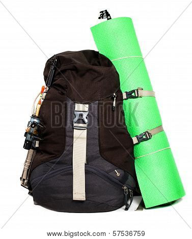 Large Touristic Backpack With Lightweight Foam Mat  Isolated On White Background.