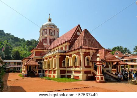 Hindu Temple Looking Like A Church In Goa, India