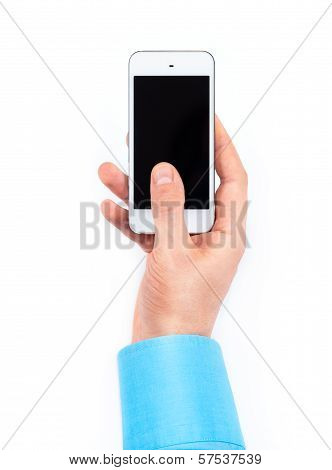 Businessman's Hand Using Smartphone On White