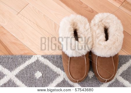 Rug And Slippers On Wooden Floor