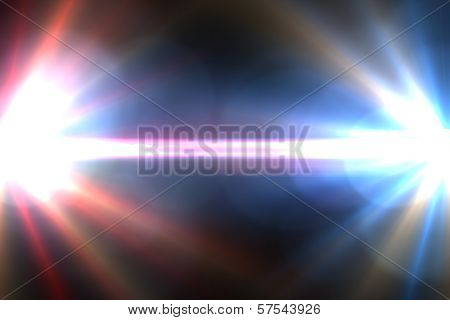 Star, sun with lens flare. Rays red of light on a  blue background