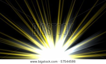 Star, sun with lens flare. Rays yellow of light on a  black background