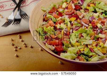 Big bowl of fresh salad with chickpeas