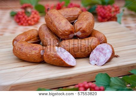 sausages on a wooden board