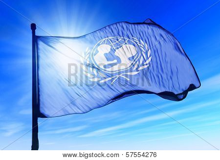 UNICEF flag waving on the wind